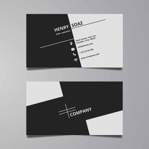 Plain Business Card Template Simple Black and White Business Card Template Vector