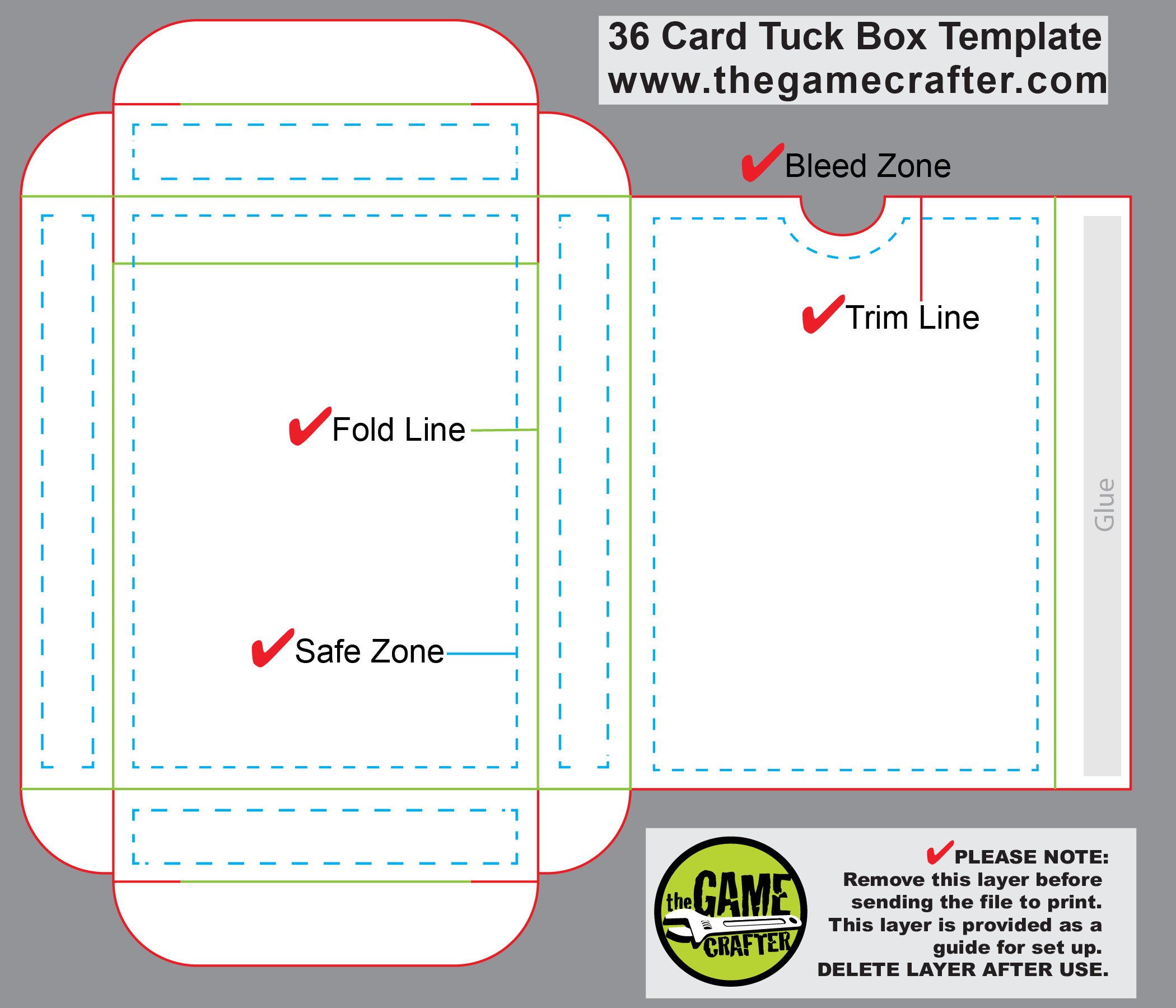 Playing Card Box Template Poker Tuck Box 36 Cards