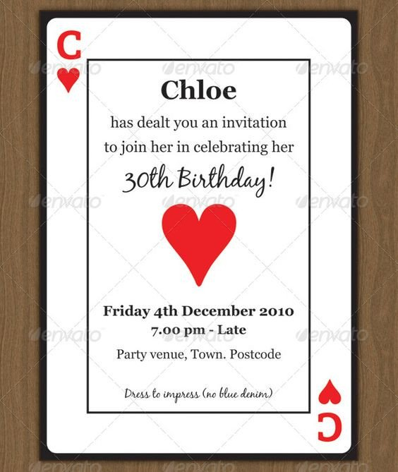 Playing Card Size Template Playing Card Invitation