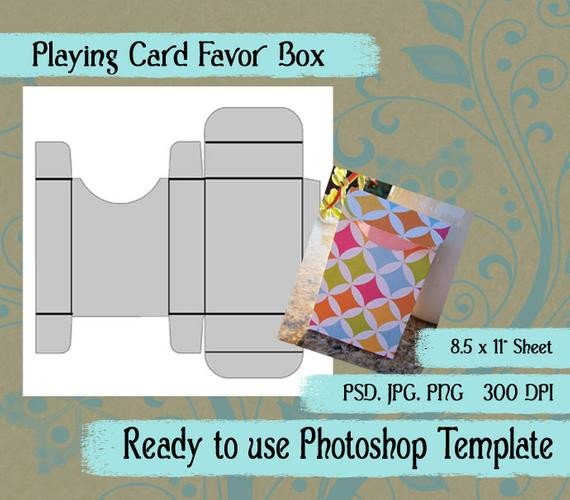 Playing Card Template Photoshop Shop Template Playing Card Favor Box by