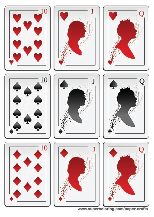 Playing Card Templates Free Deck Of Playing Cards with Silhouettes Printable Template