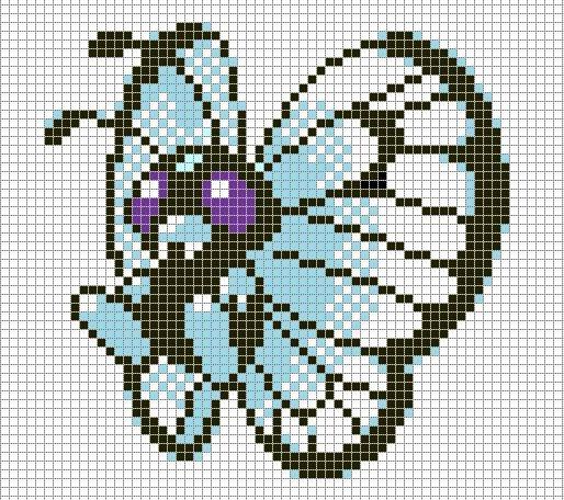 Pokemon Pixel Art Grid Pokemon Pixel Art butterfree with Grid