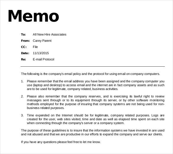 Policy Memo Template Word Email Memo Template – 6 Free Word Pdf Documents Download