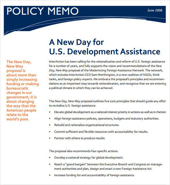 Policy Memo Template Word Sample Policy Memo 14 Documents In Pdf Google Docs Word