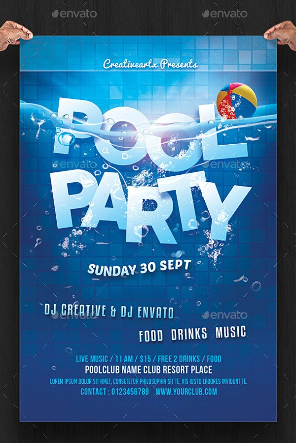Pool Party Flyer Template 20 Pool Party Flyer Designs Jpg Psd Ai Illustrator