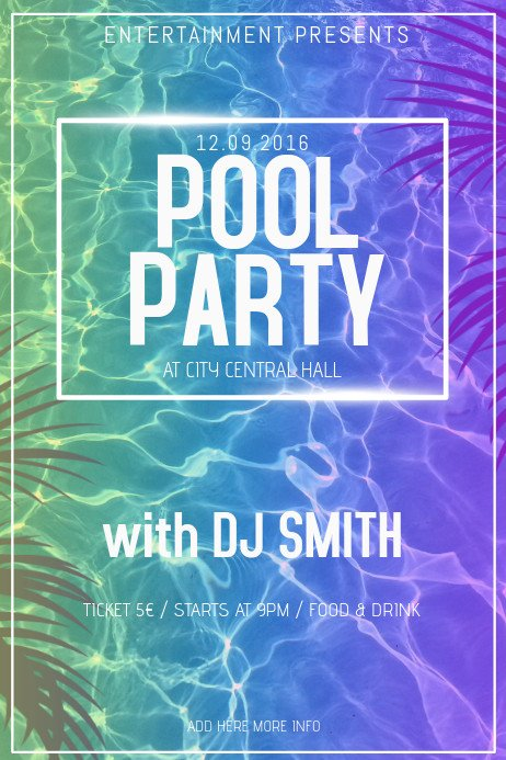 Pool Party Flyer Template Copy Of Pool Party Poster Flyer Template