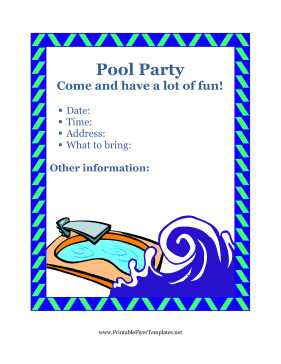 Pool Party Flyer Template Flyer for Pool Party