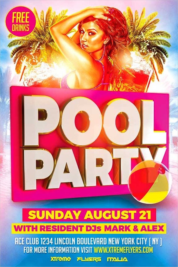 Pool Party Flyer Template Free 23 Pool Party Flyers Free Psd Word Ai Eps format