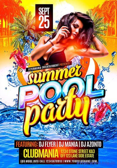 Pool Party Flyer Template Free 40 Best Summer Pool Party Flyer Print Templates 2016