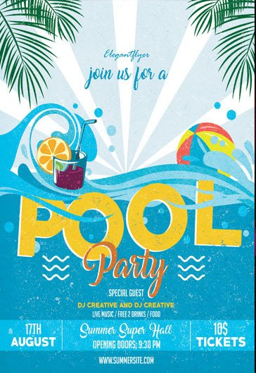 Pool Party Flyer Template Free Cocktail