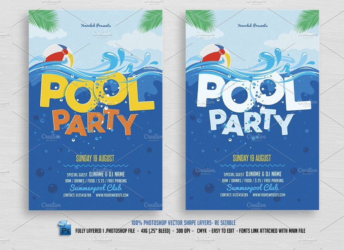 Pool Party Flyer Template Free Pool Party Flyer Flyer Templates Creative Market