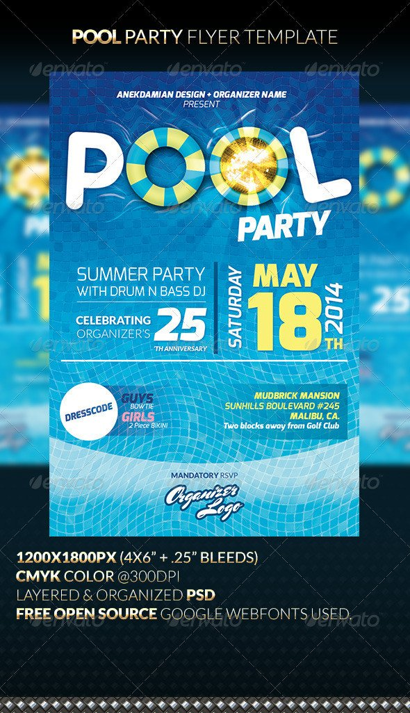 Pool Party Flyer Template Free Pool Party Flyer Template by Anekdamian