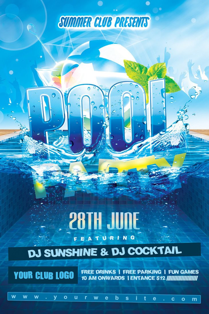 Pool Party Flyer Template Free Summer Pool Party Flyer by Dilanr On Deviantart