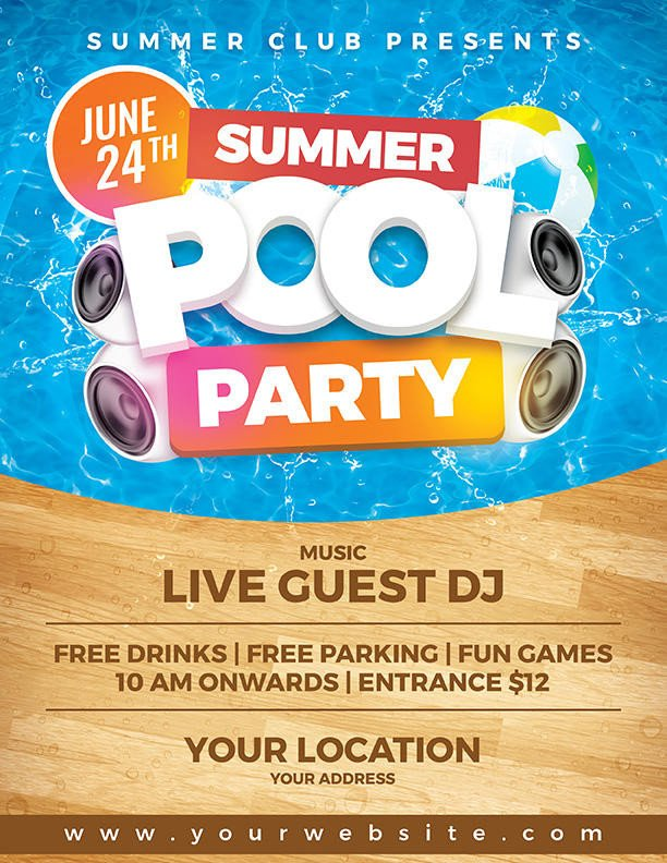 Pool Party Flyer Template Free Summer Pool Party Flyer Template by Dilanr On Deviantart