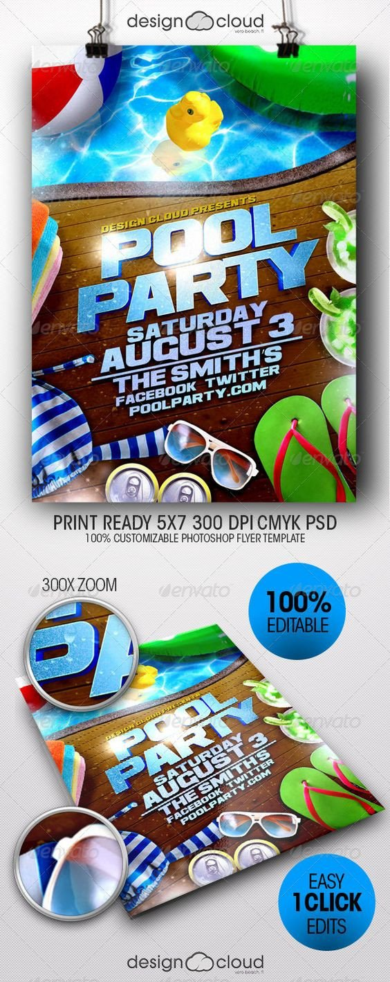 Pool Party Flyer Template Party Flyer Flyer Template and Pool Parties On Pinterest