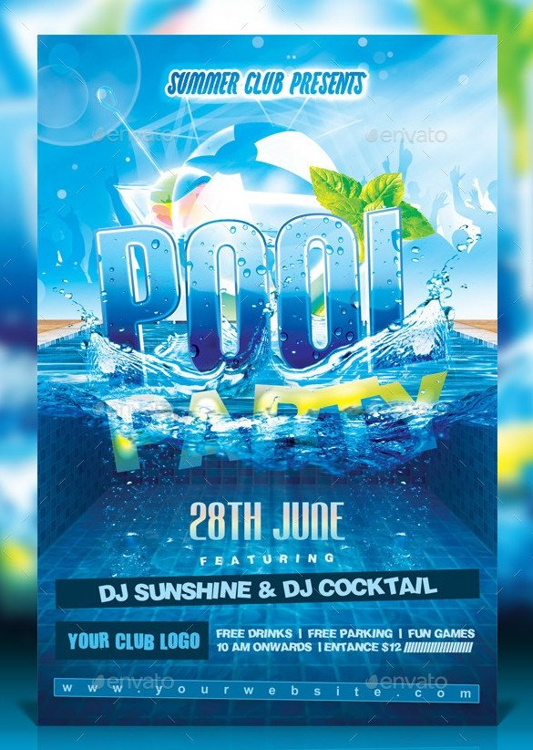 Pool Party Flyer Template Pool Party Invitation Template – 31 Free Psd format
