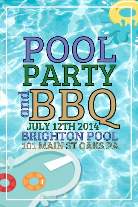 Pool Party Flyer Template Pool Party Template