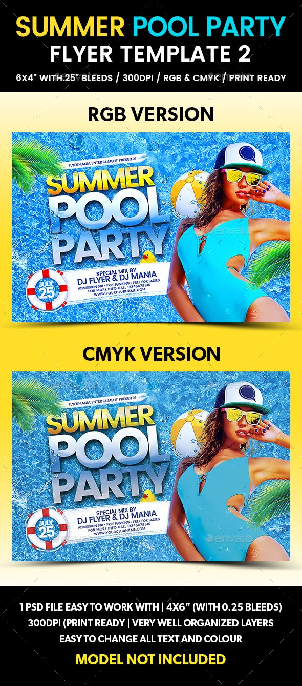 Pool Party Flyer Template Summer Pool Party Flyer Template 2 by Flyermania