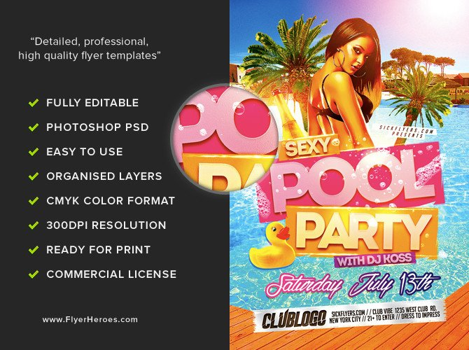 Pool Party Flyer Template Y Pool Party Flyer Template Flyerheroes