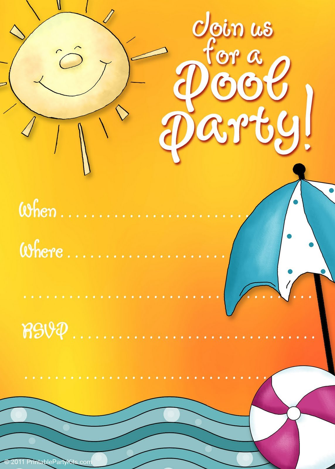 Pool Party Invitation Template Free Printable Party Invitations Summer Pool Party Invites