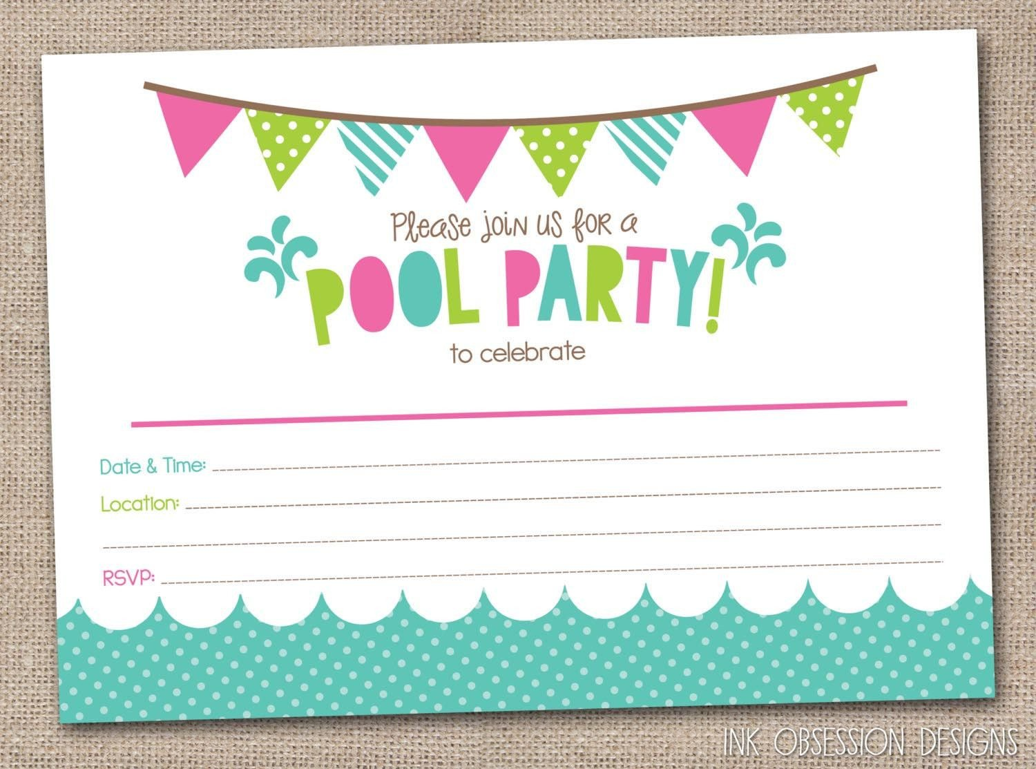 Pool Party Invitation Template Free Printable Pool Party Birthday Invitations