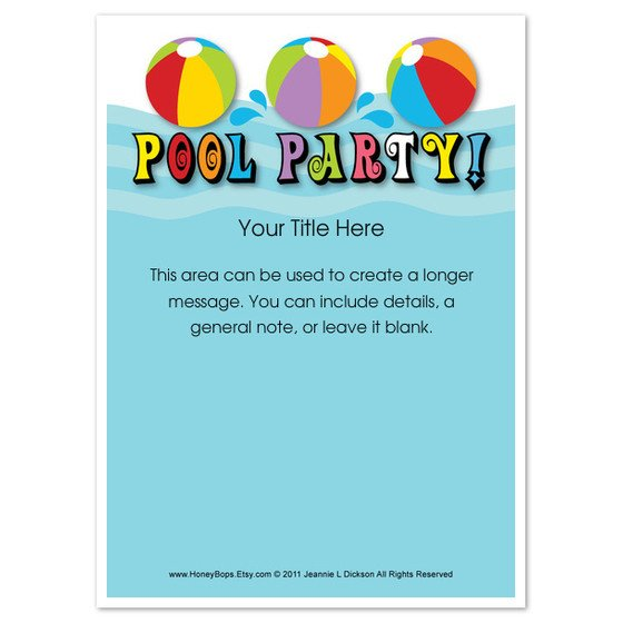 Pool Party Invitation Template Pool Party Everyone Invitations & Cards On Pingg