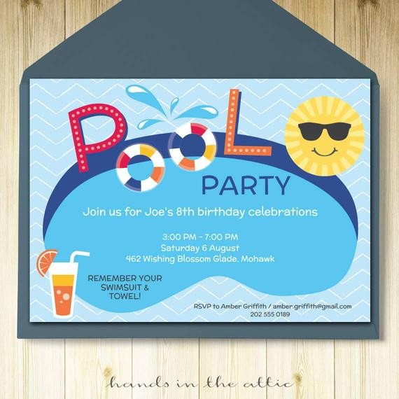 Pool Party Invitation Template Pool Party Invitation Card Editable Template Party Printable