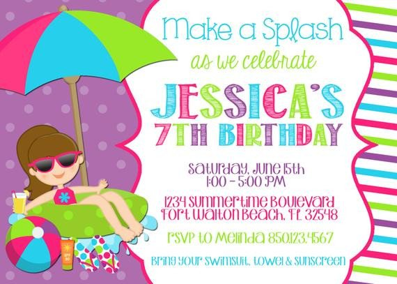 Pool Party Invitation Template Swimming Pool 5x7 Invitation Girl Birthday Party Printable