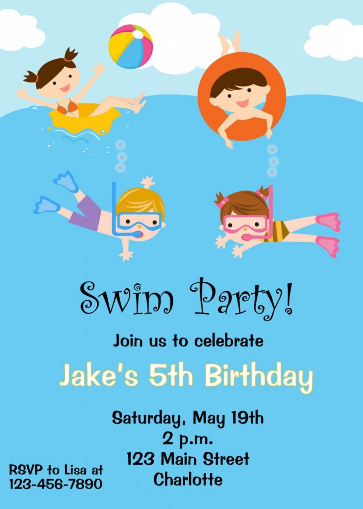 Pool Party Invitation Templates Free Printable Birthday Pool Party Invitations