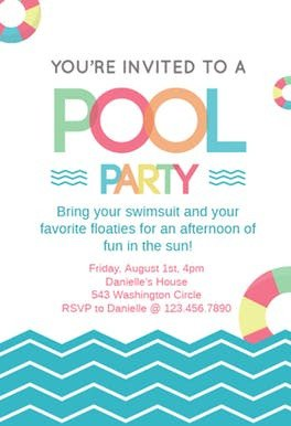Pool Party Invitation Templates Fun afternoon Pool Party Invitation Template Free