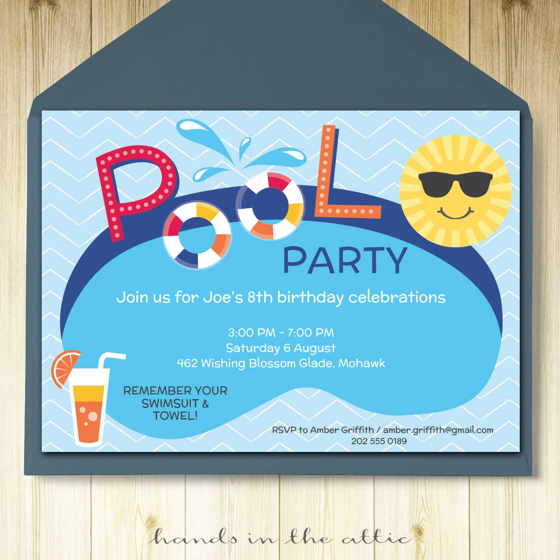 Pool Party Invitation Templates Pool Party Invitation Card Editable Template Party Printable