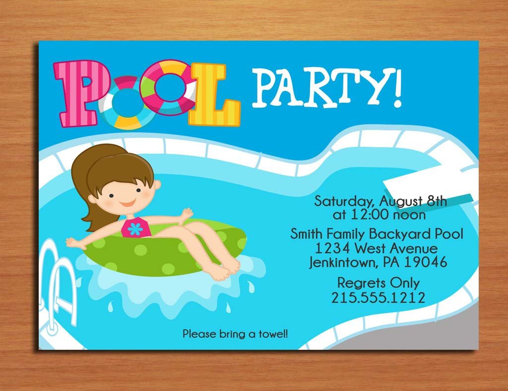Pool Party Invitations Template Free Printable Birthday Pool Party Invitations
