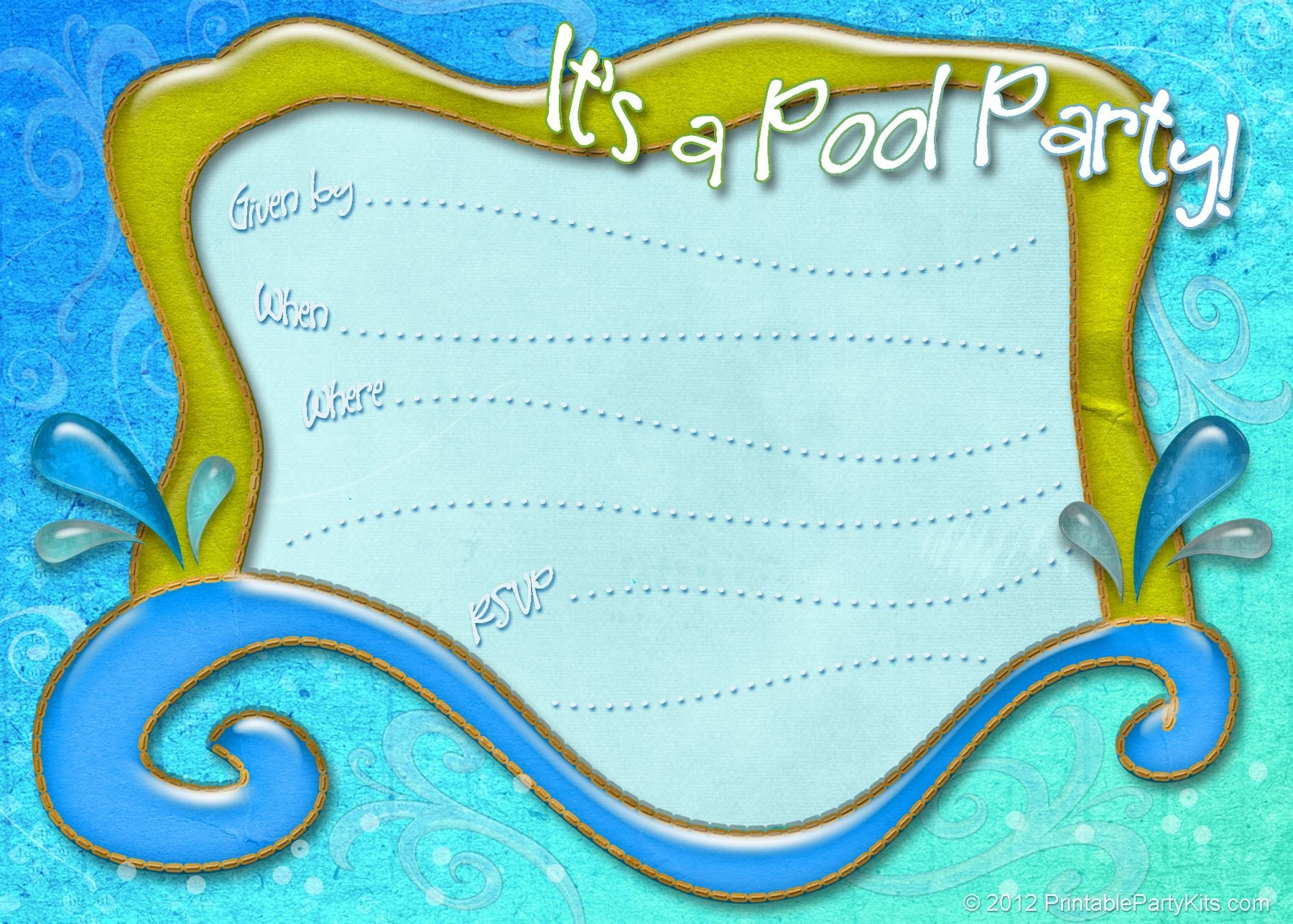 Pool Party Invitations Template Free Printable Pool Party Invitation Template From