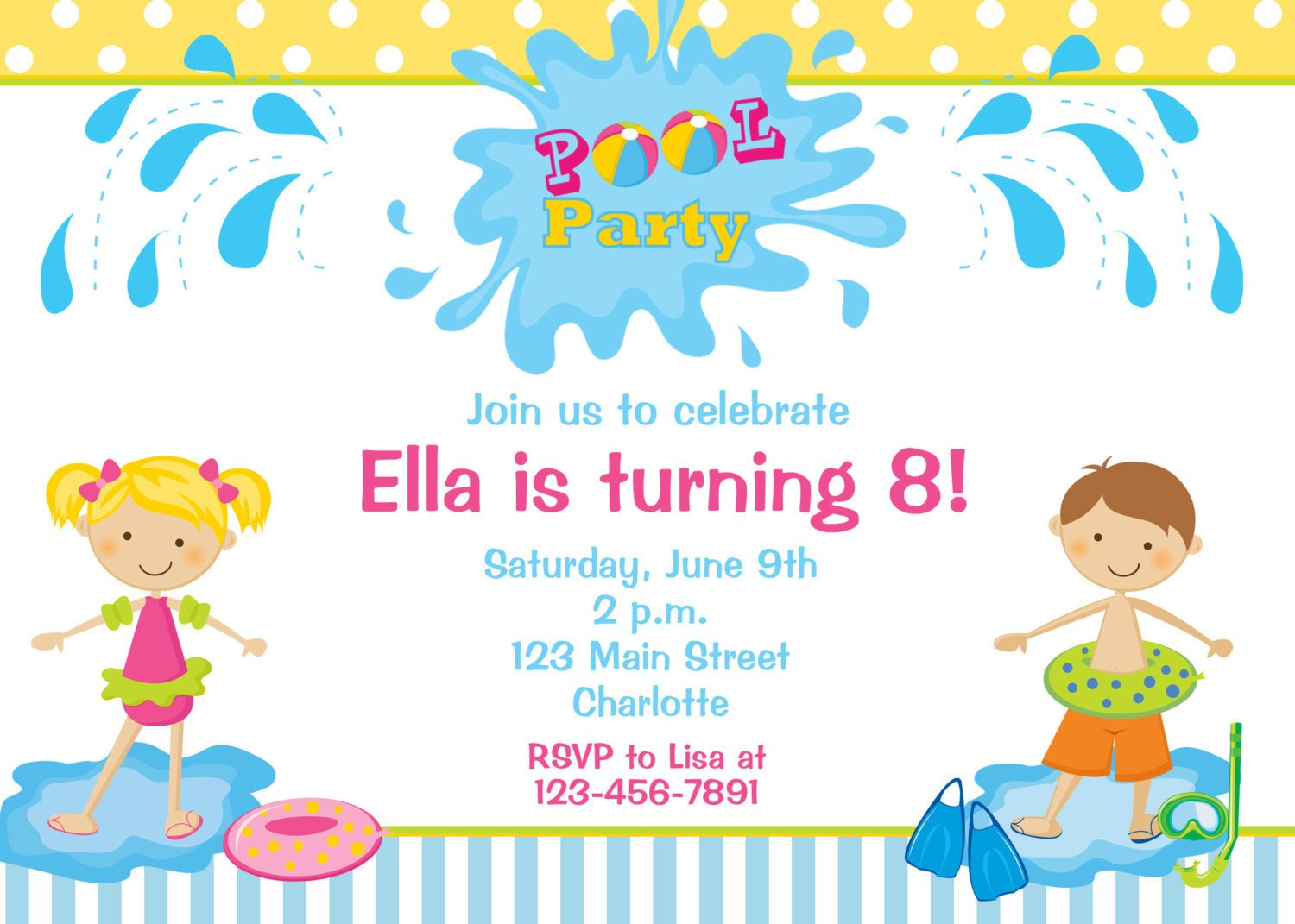 Pool Party Invitations Template Pool Party Birthday Invitation Pool Party by thebutterflypress