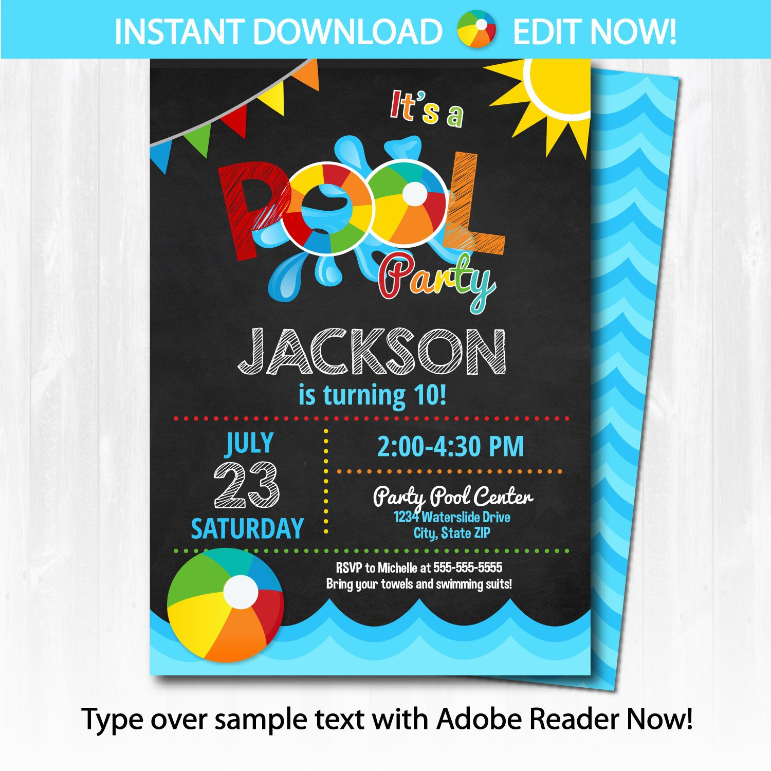 Pool Party Invitations Template Pool Party Invitation Swimming Pool Birthday Party by