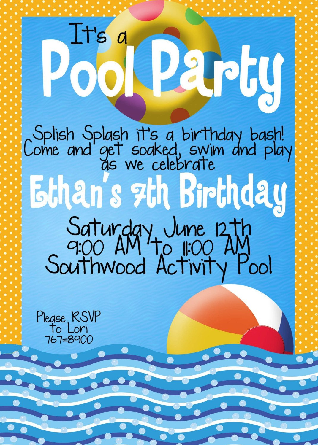 Pool Party Invitations Template Pool Party Invitations by Magicbymarcy On Etsy