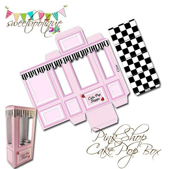 Pop Display Template Cake Pop Box Small Gift Box Wedding Favour Box by