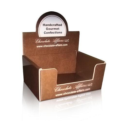 Pop Display Template Chocolate Foldable Cardboard Countertop Display Boxes Uv