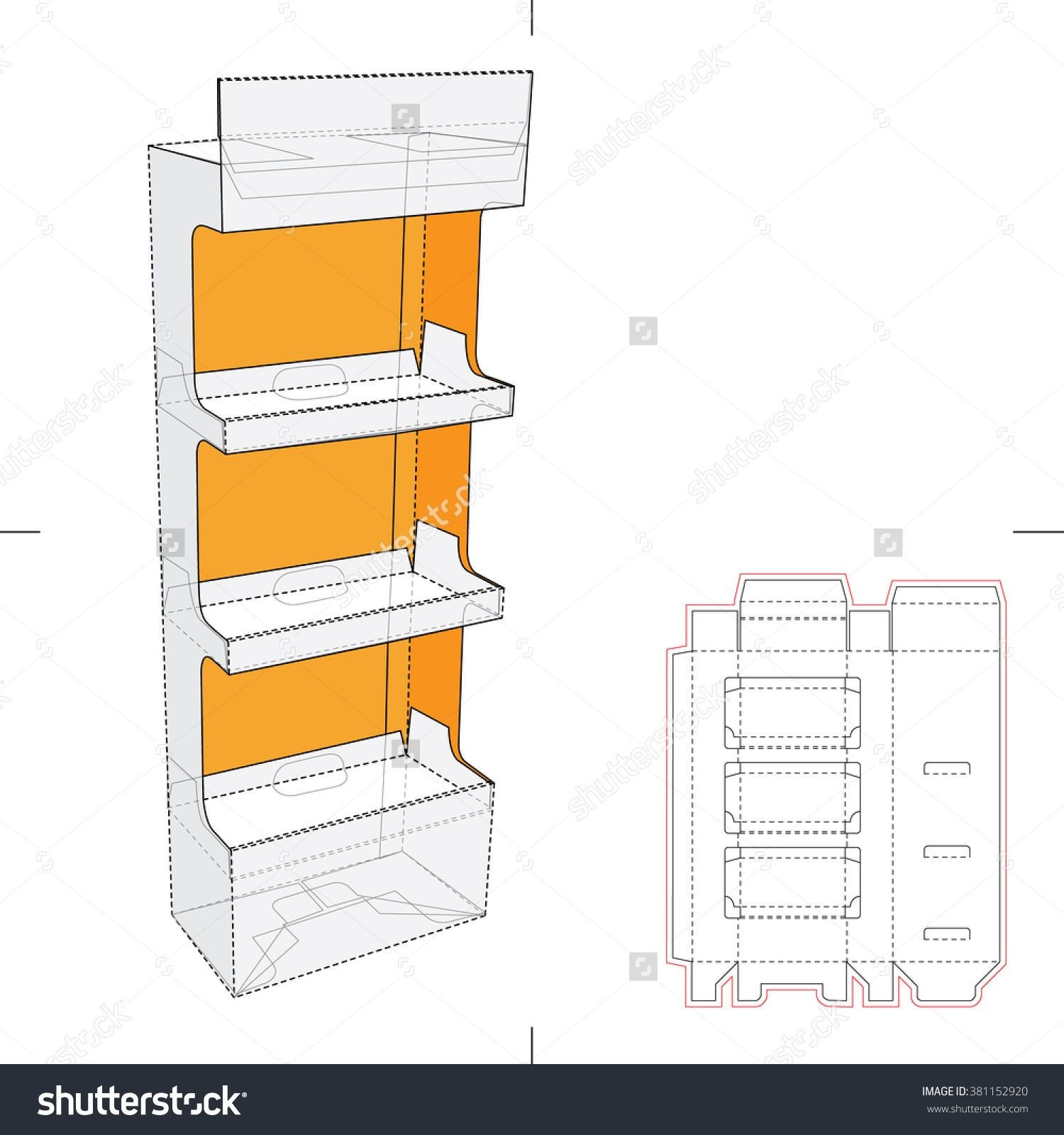Pop Display Template Display Stand Shelf with Blueprint Layout Stock Vector
