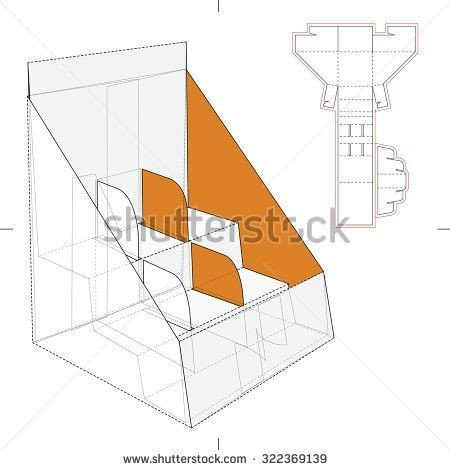 Pop Display Template Shelf Stand Box with Counter Display and Die Line Template