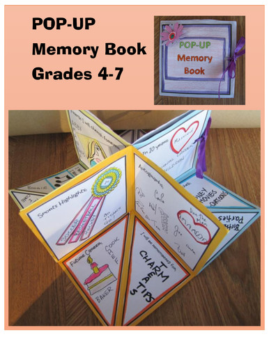Pop Up Book Template End Of Year Activities Pop Up Memory Book Grades 4 7 by