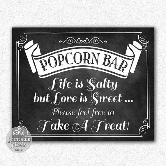 Popcorn Sign Printable 52 Best Images About Wedding On Pinterest