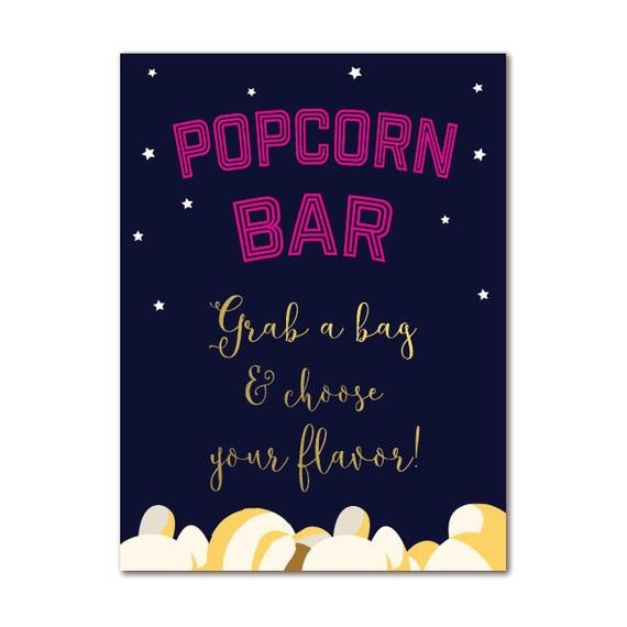 Popcorn Sign Printable Outdoor Movie Popcorn Bar Sign 8x10 Printable