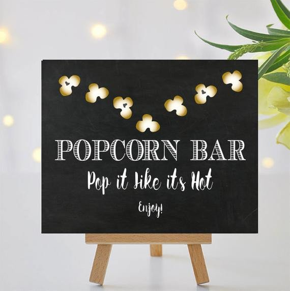 Popcorn Sign Printable Popcorn Bar Sign Ii Printable Signage Pop It Like Its Hot