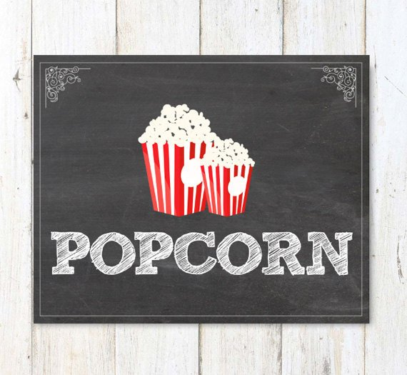 Popcorn Sign Printable Popcorn Bar Sign Instant Download Two Files 8x10 and 11x14