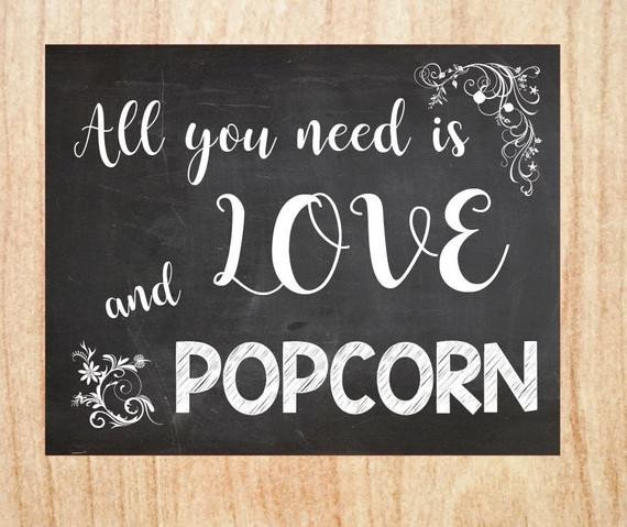 Popcorn Sign Printable Popcorn Table Sign Printable Wedding Chalkboard Digital