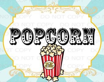 Popcorn Sign Printable Printable Diy Circus theme Cupcake toppers