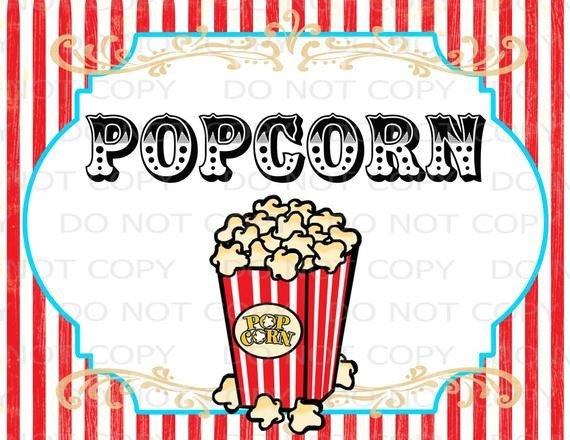 Popcorn Sign Printable Printable Diy Vintage Circus Popcorn Table Sign 8 5 X