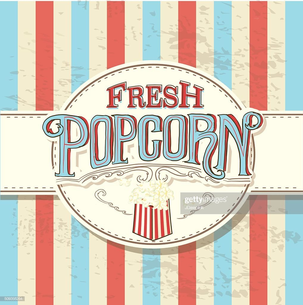 Popcorn Sign Printable Retro Fresh Popcorn Hand Lettered Sign Design Vector Art