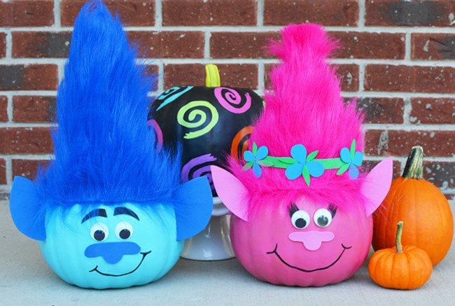 Poppy Pumpkin Stencil Pumpkins Decorated Like Trolls